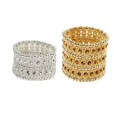 2 / 3 ROW Stunning Diamante Crystal Rhinestone Stretch Wide Cuff Bracelet Bangle