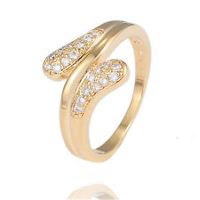 Fashion Clear Shining Gemstone 18K gold filled Refined Elegant Ring Size 7 8 9