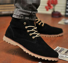 New Fashion Men Suede Lace Up Solid Sneakers Trainer Boots High Top Shoes