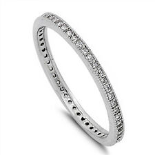 Cubic Zirconia Eternity Wedding Band .925 Sterling Silver Ring Sizes 4-10