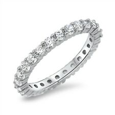 Cubic Zirconia Eternity Anniversary Band .925 Sterling Silver Ring Sizes 4-10