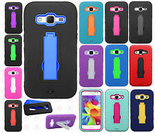 For Samsung Galaxy Prevail LTE IMPACT Hard Rubber Case Phone Cover Kickstand