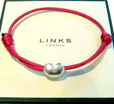 Genuine Links of London Silver Heart Bead Friendship Bracelet