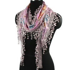 Floral Print Lace Fringed Triangle Scarf Wrap Shawl Women Scarf Ladies Scarf New