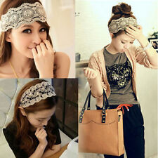 Chic Women Lady Lace Pearl Beads Headband Hairband Elastic Hair Head Band New