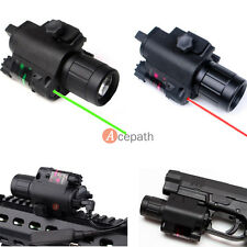Tactical Hunting CREE Q5 LED Flashlight & Red/Green Laser Sight Combo 20mm Rail