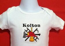 Personalized with name or Phrase. Firefighter Logo Baby Bodysuit Embroidery