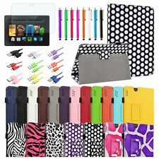 """Leather Case Stand Cover+Matte SPT+Cable For Amazon Kindle Fire HDX 7 7"""""""