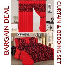 Bargain Deal Damask 4 Pcs Complete Bedding Set With Pair Of Flock Curtain RED