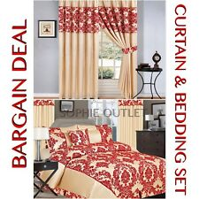 Bargain Damask 4 Pcs Complete Bedding Set With Pair Of Flock Curtain BEIGE RED