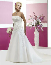 New White/ivory Satin Wedding Dress Bridal Gown Stock Size 6 8 10 12 14 16 18