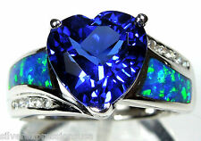 10mm Heart Tanzanite & Blue Fire Opal Inlay 925 Sterling Silver Ring Sz 6 - 9