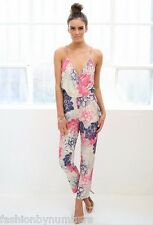 NWT Angel Biba Pink Blue Floral Wrap Relaxed Jumpsuit Pantsuit 6 8 10 - SALE!