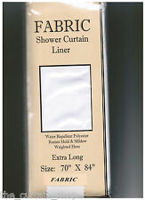"Extra Long Fabric Shower Curtain Liner Water repellent Weighted Hem 70"" x 84"""