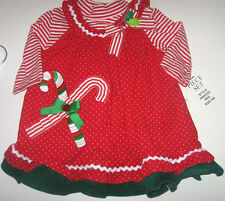 NWT RARE EDITIONS Girls Baby Toddler Candy Cane  2 Piece Dress Size 6,9,12 Month