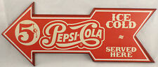 Pepsi Cola Ice Cold Served Here Directional Arrow Wooden Wall Sign Plaque Decor