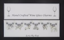 Love My Dog Themed Set of Wine Glass Charms Dog Lover Best Friend Party Animal
