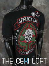 Mens Affliction T-Shirt SPEED & SURPRISE in Black Lava Wash Style #A11507