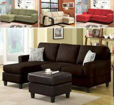Reversible Microfiber Chaise Sectional Sofa Couch Sofas Couches Brown Beige Tan