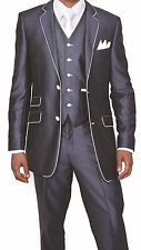 Milano Moda Men's 3 Piece Slim Fit Wool Feel Suit with Pants and Vests 5702V1