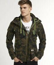 New Mens Superdry Hooded Service Jacket Iron Camo Green MJD1