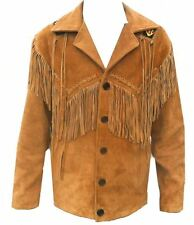 Celebrita X Western Cowboy Leather Coat fringed and Beads for Men's
