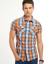 New Mens Superdry Washbasket Check Shirt Acid Check Orange