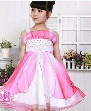 NEW Flower Girl Bridesmaid Party Pageant Wedding Dress Pink White SZ 5-6 Z215