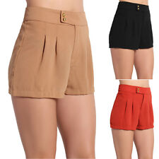 TheMogan Tailor Flare Pleated High Waisted Shorts Trouser Short Pants