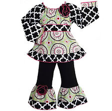 AnnLoren Girls Smocked Medallion and Lattice Pants Clothing Outfit 12/18m - 9/10