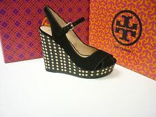 NEW!! TORY BURCH  OLLIE POLKA DOT  WEDGE IN BLACK SUEDE! ORIG $325