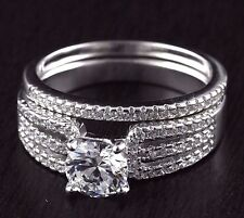 Womens Solid 925 Sterling Silver CZ wedding Solitaire Twins Matching Band  Ring