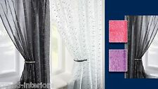 DISCO VOILE NET CURTAIN PANEL PLAIN SLOT TOP SPARKLE SEQUIN GLITTER BLING EFFECT