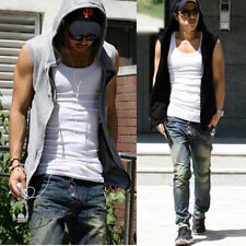 Mens Beach Sport Casual Slim Fit Hoodie Sleeveless  Zip Hoody T-shirt Vest Tops