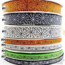 "3/8""9mm&1""25mm Multi-Colors Spider Web Halloween Grosgrain Ribbon 5 Yards U pick"