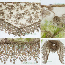 Wide Lace Trim Tassel Silver Metalic Floral 3D Flower Triangle Mantilla Scarf