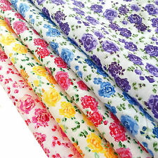 Floral Polycotton Fabric Rose Material Metre Vintage Shabby Chic White Pink Blue