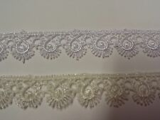 Lace 15mm Guipure Lace Eye lash Pattern White or Cream 48022