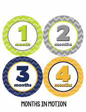 Baby Boy Monthly Milestone Birthday Stickers 12 Month Sticker Chevron #008