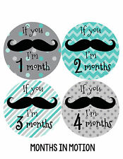 Baby Boy Monthly Milestone Birthday Stickers 12 Month Sticker Mustache #217