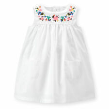 Carters Baby Girls Poplin Embroidered Dress 3 6 9 12 18 24Months Clothes