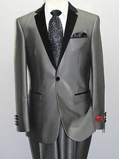 Men Formal Suit with Velvet Trim Slim Fit one Button ELEGANZA by Giorgio Sanetti