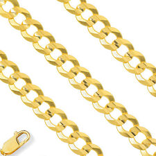 4.4mm 14K Yellow Gold Semi Solid Necklace Cuban Curb Mens Chain All Sizes