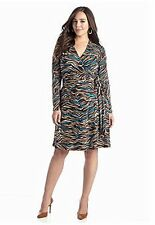 NEW DIRECTIONS® Plus Size Brown & Turquoise Jersey Knit Faux Wrap Dress, 1X *NWT