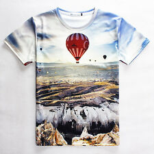 Parachute flying on wasteland highland natural landscape 3D graphic T-shirt tee