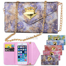 Premium Leather Handbag Wallet Case Metal Chain Bling Diamond for iPhone Samsung