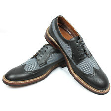 New Men's Black / Grey Ferro Aldo Checkered Plaid Shoes Modern Wing Tip Brogue