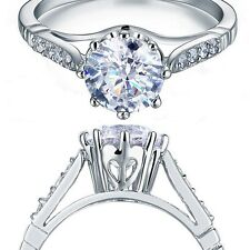2 Carat Round Cut Created Diamond Solid 925 Sterling Silver Ring