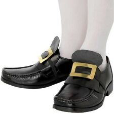Metal Shoe Buckles Pilgrim Costume Gold Buckle Colonial Renaissance Black NEW