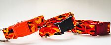 Red/Orange Flames Dog Collar, Handmade, 100% Cotton, Choice of Buckle Color